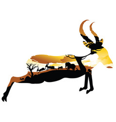 sunset landscape with antelopes vector image