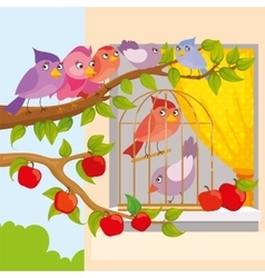 Birds Sitting On Branch vector image vector image