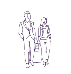 business man and woman walking with suitcase vector image vector image