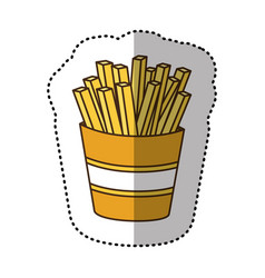 color fries french fast food icon vector image