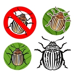 Colorado potato beetle and prohibition sign vector image