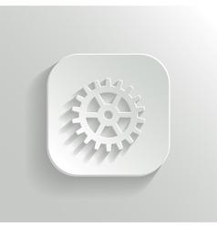 Gear icon - white app button vector image vector image
