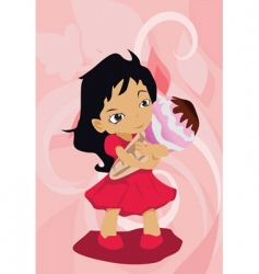 girl with ice-cream vector image