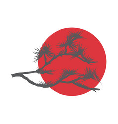 Pine branch and red sun vector
