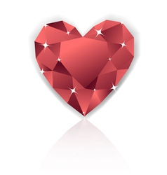 Shiny red heart diamond with reflection vector image vector image