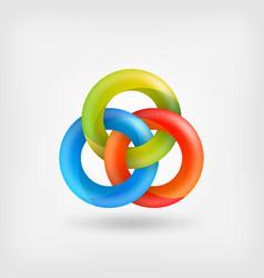 Three abstract interlocking rings vector