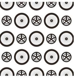 bike wheels and sprocket pattern background vector image