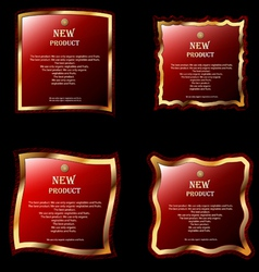 Four red labels vector image