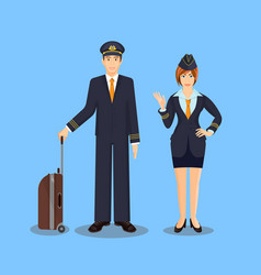 pilot with brown suitcase and stewardess waving vector image