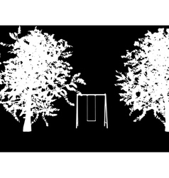tree with a swing on night stars sky vector image vector image