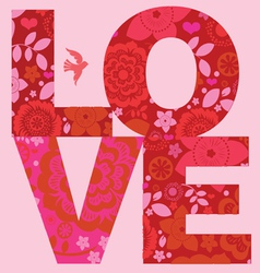 valentine day love message floral poster vector image vector image