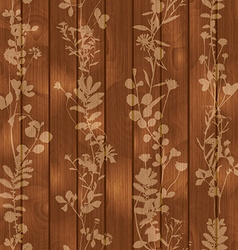 Wooden seamless background with flower elements vector image vector image