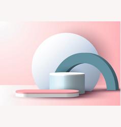 3d realistic blue pastel geometric display vector
