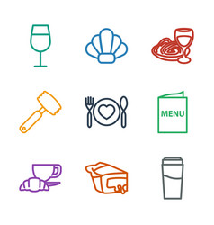 9 restaurant icons vector