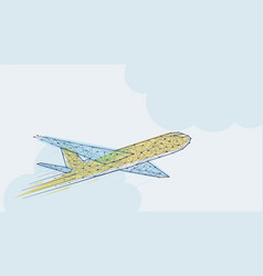 abstract blue and yellow airplane template vector image