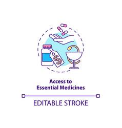 Access to essential medicines concept icon vector