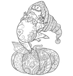 adult coloring bookpage a cute dancing pig vector image