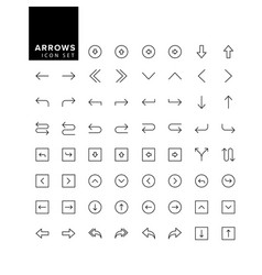 arrows set arrow for website and app line vector image