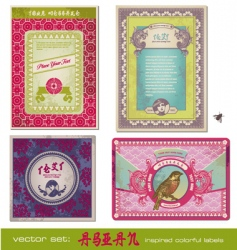 asia vintage labels vector image