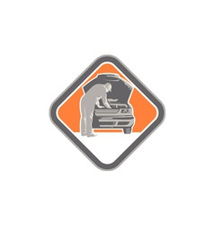 Automotive mechanic car repair woodcut vector