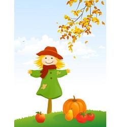 Autumn scarecrow vertical scene vector
