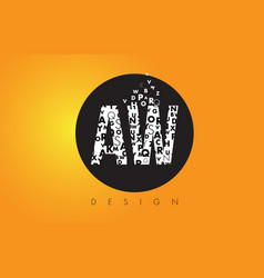 Aw a w logo made of small letters with black vector