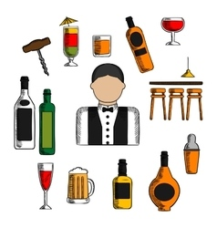Bartender profession cocktails and drinks vector