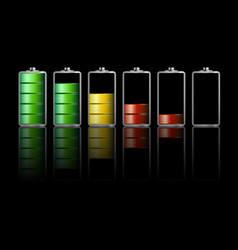 battery icons on dark background vector image
