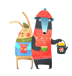 Bear and rabbit with tea cup vector