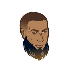 Bearded men face with dark skin profile vector