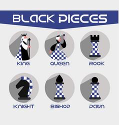 black chess pieces set vector image