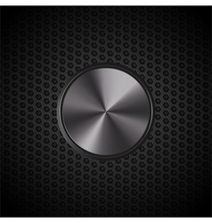 black metallic button on mesh vector image