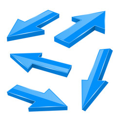 blue arrows straight shiny 3d icons vector image