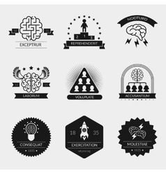 Brain logo set and creativity badges vector