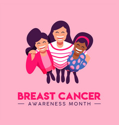 breast cancer awareness card of friend group hug vector image