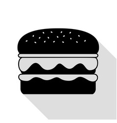 burger simple sign black icon with flat style vector image
