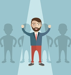 Businessman of leader Standing out of the crowd vector image
