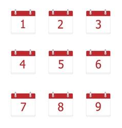 Calendar app icons 1 to 9 days vector