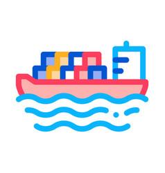 cargo ship at sea icon outline vector image