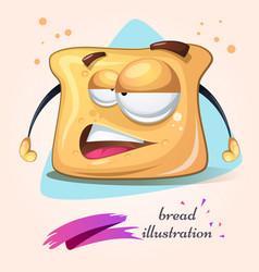 Cartoon funny cute crazy bread vector