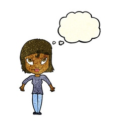 cartoon girl shrugging shoulders with thought vector image