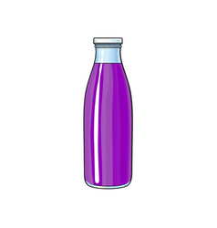 cartoon glass bottle of purple fruit juice vector image vector image