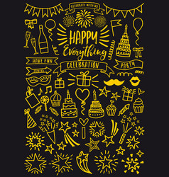 Celebration party gold doodles set vector