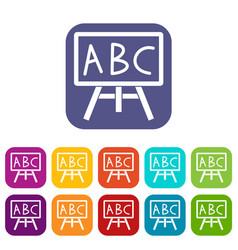 Chalkboard with the leters abc icons set vector