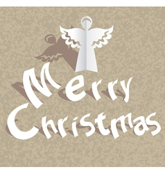 Christmas paper card with angel vector