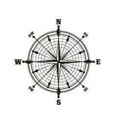 Compass with dial monochrome icon vector