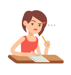 crazy worried young woman student in panic on exam vector image