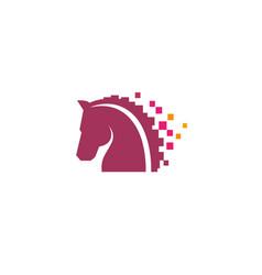creative abstract horse head pixel logo design vector image