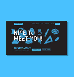 creative agency office landing page example mockup vector image