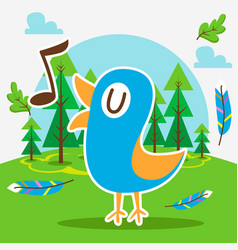 cute bird in forest vector image